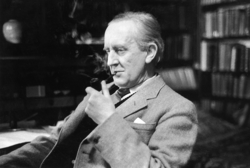 December 1956:  British writer J R R Tolkien (1892 - 1973), enjoying a pipe in his study at Merton College, Oxford, where he is a Fellow. Original Publication: Picture Post - 8464 - Professor J R R Tolkien - unpub.  (Photo by Haywood Magee/Picture Post/Getty Images)
