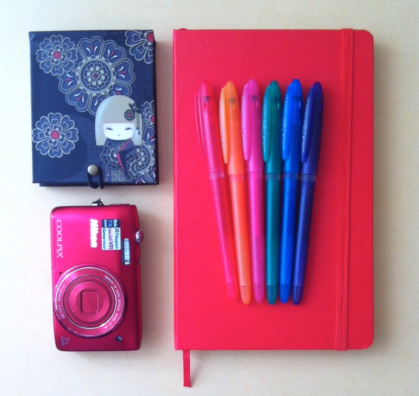 carnet crayons blogging appareil photo