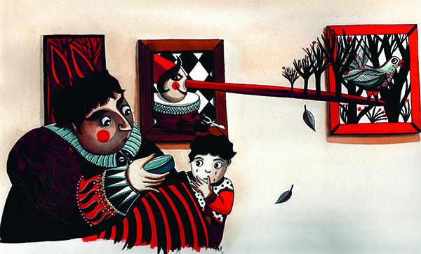 Petit ogre veut un chien, illustration par Fabienne Cinquin - la poule qui pond