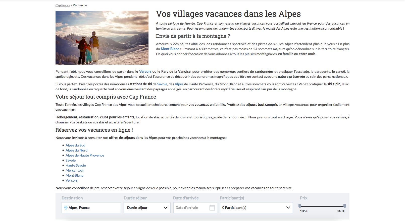 Exemple page recherche Alpes