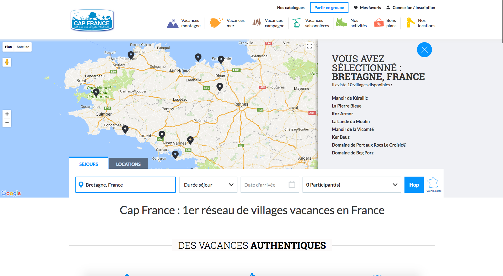 Carte page d'accueil