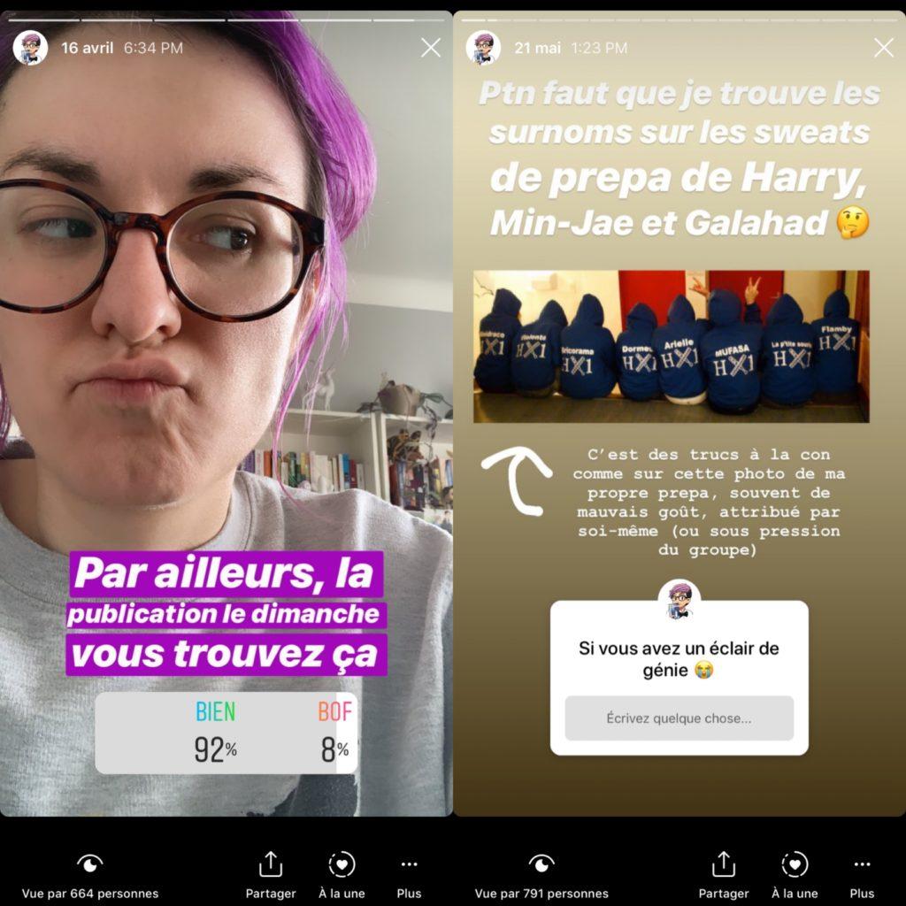 Stories instagram pour demander l'avis des lecteurs